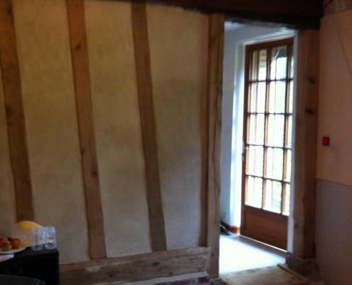 mur pan de bois chêne enduit à la chaux
